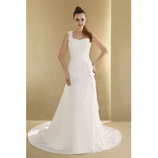 Elegant A-Line One Shoulder Court Train Chiffon Wedding Dresses