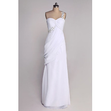 Vintage One Shoulder Column Chiffon Floor Length Wedding Dresses