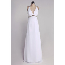 Custom V-Neck Chiffon Column/ Sheath Floor Length Wedding Dresses