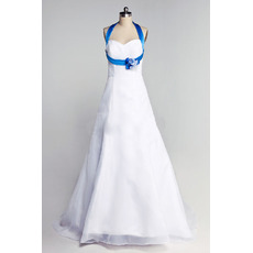 Inexpensive Blue Halter A-Line Floor Length Satin Wedding Dresses
