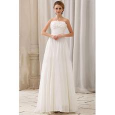Custom Column Strapless Sleeveless Chapel Train Chiffon Wedding Dresses