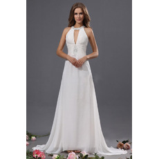 Discount Sexy Sheath Halter Sweep Train Chiffon Wedding Dresses
