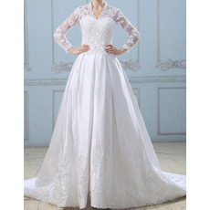 2015 New A-Line V-Neck Chapel Train Wedding Dresses with Long Sleeves