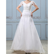 Custom A-Line V-Neck Sweep Train Wedding Dresses with Short Sleeves