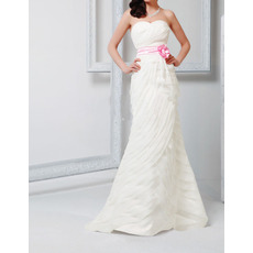Inexpensive Sheath Floor Length Pleated Wedding Dresses with Sashes