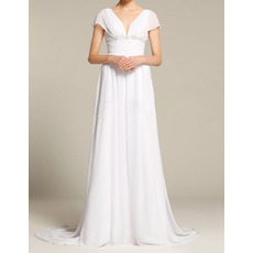 2018 New Style V-Neck Cap Sleeves Sweep Train Chiffon Wedding Dresses