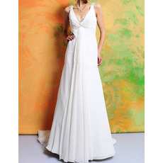 Sexy Empire V-Neck Sleeveless Sweep Train Chiffon Wedding Dresses
