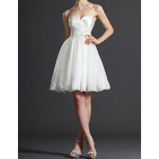 2018 New Sweetheart Taffeta Tulle Short Summer Wedding Dresses