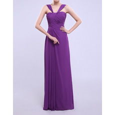 Affordable Column Straps Floor Length Chiffon Bridesmaid Dresses