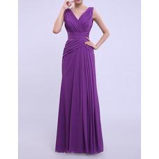 2019 New Column V-Neck Floor Length Chiffon Bridesmaid Dresses