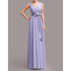 Custom Column V-Neck Long Chiffon Bridesmaid Dresses with Sashes