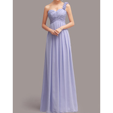 Sexy One Shoulder Sweetheart Floor Length Chiffon Bridesmaid Dresses