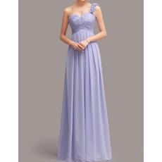 Sexy One Shoulder Sweetheart Floor Length Chiffon Bridesmaid Dresses