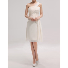 Sexy One Shoulder Sleeveless Knee Length Chiffon Bridesmaid Dresses