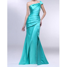 Sexy Sheath One Shoulder Floor Length Satin Pleated Evening Dresses
