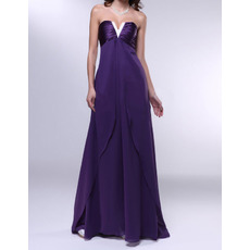 2018 New Style Empire Strapless Floor Length Chiffon Evening Dresses