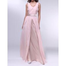 Custom Sheath V-Neck Floor Length Chiffon Pleated Evening Dresses
