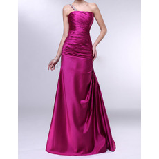 Discount Sheath One Shoulder Floor Length Satin Evening Dresses
