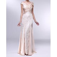 Custom Sheath Sweetheart Cap Sleeves Floor Length Lace Evening Dresses