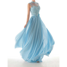 Discount Sheath High-Neck Floor Length Chiffon Evening Dresses