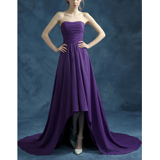 Inexpensive Strapless High-Low Asymmetric Chiffon Evening Dresses