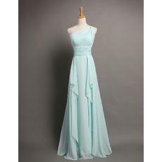 2018 Style A-Line One Shoulder Floor Length Chiffon Evening Dresses