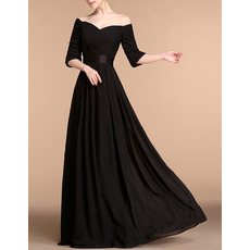 Custom Off-the-shoulder Floor Length Chiffon Evening Dresses with Sleeves