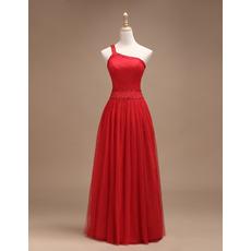 Sexy A-Line One Shoulder Sleeveless Floor Length Satin Evening Dresses
