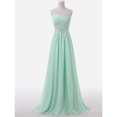 Custom A-Line Sweetheart Sleeveless Floor Length Chiffon Evening Dress