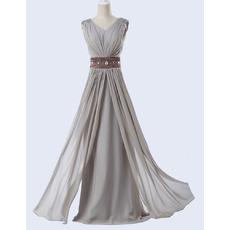 Elegant A-Line V-Neck Floor Length Chiffon Evening Dress with Belt