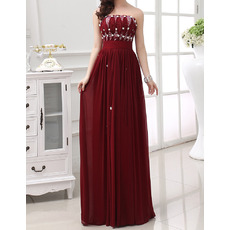 Inexpensive Strapless Sleeveless Floor Length Chiffon Evening Dresses
