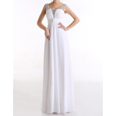 Custom Empire Scoop Sleeveless Floor Length Chiffon Evening Dresses