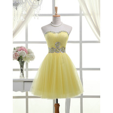 Affordable A-Line Sweetheart Short Satin Tulle Homecoming Dresses
