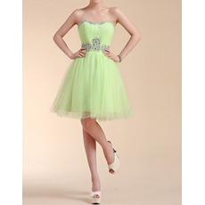 Custom A-Line Sweetheart Short Satin Tulle Homecoming Dresses