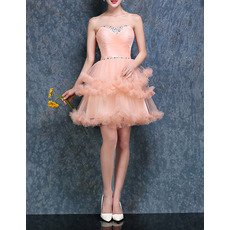Custom Ball Gown Sweetheart Short Satin Ruffle Homecoming Dresses
