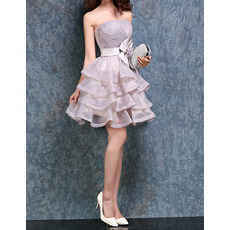 Inexpensive Ball Gown Strapless Short Organza Layered Homecoming Dresses