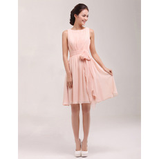 Custom Bateau Sleeveless Short Chiffon Homecoming Dresses with Sashes