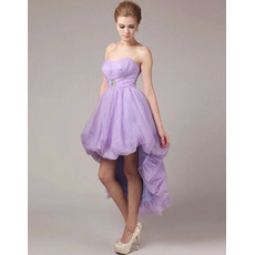 Custom A-Line Sweetheart High-Low Taffeta Organza Homecoming Dresses
