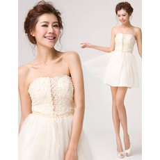 Custom A-Line Strapless Mini Chiffon Beading Homecoming Dresses