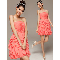 Cute A-Line Strapless Mini/ Short Chiffon Ruffle Homecoming Dresses