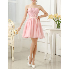 Inexpensive A-Line Strapless Short Chiffon Pleated Homecoming Dresses