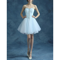Cute A-Line Sweetheart Short Tulle Taffeta Homecoming Dresses