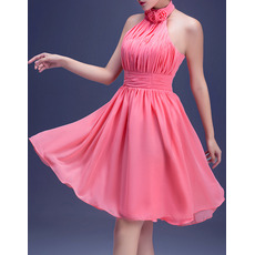 Custom A-Line Halter Short Chiffon Pleated Homecoming Dresses