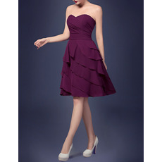 Affordable A-Line Sweetheart Short Chiffon Layered Homecoming Dresses