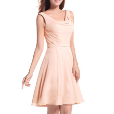 Elegant A-Line Straps Cowl Short Chiffon Homecoming/ Party Dresses