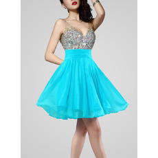 Custom Sexy A-Line V-Neck Short Chiffon Beading Homecoming Dresses