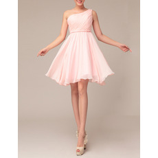 Elegant Empire One Shoulder Short Chiffon Homecoming Dresses