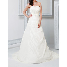 Vintage A-Line Strapless Sweep Train Taffeta Fall Wedding Dresses
