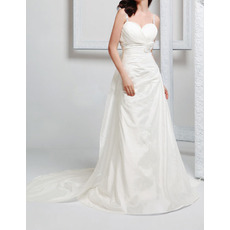Custom Sexy Spaghetti Straps Chapel Train Taffeta Wedding Dresses