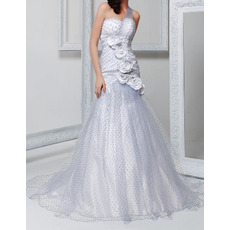 Affordable Sheath One Shoulder Court Train Tulle Dot Wedding Dresses
